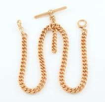 Antique Solid 9Ct Rose Gold Double Albert Watch Chain 15 1/2''